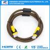 高品質HDMIのProectorのための男性へのナイロンブレードケーブルの男性