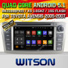 Carro DVD GPS do Android 5.1 de Witson para Toyota Avensis 2005-2007 com sustentação do Internet DVR da ROM WiFi 3G do chipset 1080P 16g (A5587)