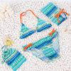Симпатичный костюм заплывания с мешком для МНОГОТОЧИЯ девушки голубого и желтого