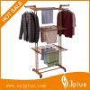 Three Layer Wood Grain Clothes Rack com plástico ABS Jp-Cr300W2