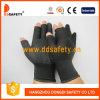 13 Gague黒いNlyonのシェルの黒PVCは点を打つ継ぎ目が無い半分指の綿の働く手袋(DKP529)に