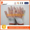 Les gants de coton/polyester avec le PVC rouge pointille les deux côtés (DKP224)