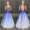 Vestido de noite frisado azul da esfera