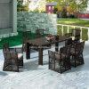 高品質の8-10人による椅子が付いている屋外の庭の大きいサイズの長方形のPE藤のダイニングテーブル(YT605)