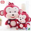 Norme bourrée douce de la CE de jouet de singe rose de peluche avec l'écharpe