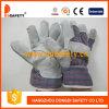 Guante partido de la seguridad de los guantes de la vaca/del cerdo, parte posterior de algodón, CE del paso (DLC105)