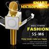 Микрофон отголоска самого нового диктора Mic Karaoke Bluetooth радиотелеграфа 4.0 DIY Ss-M6 золотистый с индикацией СИД и зажим для Android Ios