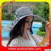 Chapéus de papel largos flexíveis da listra da palha da borda 100% da praia do verão da forma para Women&Ladies