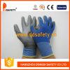 Голубые перчатки Dpu167 PU вкладыша нейлона и полиэфира серые