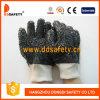 Gants rugueux noirs de PVC, 100%Cotton revêtement, poignet de Knit (DPV118)