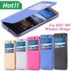 Leather de lujo Caso para HTC Uno M9 Smart Visión Window Back Cover Phone Caso