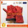 Краги Сварщика Красные Спилковые Пятипалые (DLW605)