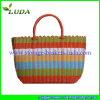Luda Mixed Colors Plastic Straw Basket