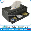 Plutônio Leather Tissue Holder com Drawer Organizer para Home & Hotel