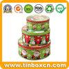Runder Weihnachtszinn-Kasten stellte für das Metallgeschenk-Kasten-Verpacken ein