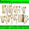 Vaisselle plate en bambou jetable, ustensiles en bois en bambou de couverts