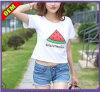 T-shirt estampé par coton fait sur commande pour les femmes (W228)