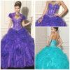 2012 novos querido sexy bonito A - linha vestidos de Quinceanera do cetim de Tulle do plissado das flores do revestimento da bainha (QD-007)