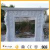 Cornija de lareira do mármore branco/chaminé de pedra, chaminé cinzelada para a decoração Home