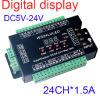 24CH DMX512 Decoder, LED-Dimmer-Controller, 24CH DMX Decoder, DC5V-24V, jeder Kanal maximales 3A, 8 Gruppen RGB-Controller-Digitalanzeigen-Adressen-Code-