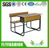 Doubles bureau et chaise détachables en bois d'école
