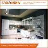 L様式の白い台所家具PVC膜の食器棚