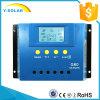 역광선 LCD 스크린 30A 주문을 받아서 만들어진 파란 색깔 G30를 가진 12V/24V 태양 관제사 또는 규칙
