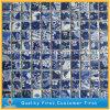 台所または浴室の背景の装飾のための自然で青い大理石の石塀のモザイク