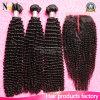 Het Mongoolse Menselijke Maagdelijke Haar van Afro van de Bundels van het Haar Remy Kroezige Krullende met Sluiting