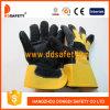 黒い牛そぎ皮の手袋の安全手袋(DLC227)