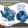 Джерси перчатка с голубой Nitrile Sandy Полный покрытия и безопасности манжеты / EN388: 4221 / Размер 9 , 10, 11 (YS-074C)