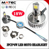 Installation facile H6 H4 H7 18W Motorcycle LED Headlight Bulb