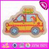 Placa de madeira do enigma Jigsaw de 2015 miúdos coloridos, brinquedo de madeira Non-Toxic Eco-Friendly do enigma, brinquedo de madeira W14c230 do enigma da criança da forma do carro