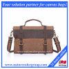 Serviette de sac de messager de toile avec le cuir véritable (MSB-043)
