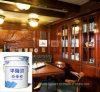 Lustre de la PU de Hualong para el abrigo azul y blanco