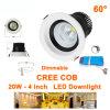 20W Dimmable 중단된 실내 크리 사람 옥수수 속 LED는 90-130VAC/200-240VAC Downlights를 스포트라이트로 비춘다
