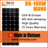 mono comitato solare di 100W 12V fatto nel Vietnam