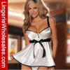 Blanc de mode avec la lingerie sexy de sous-vêtements de bandage noir