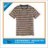 T-shirt rond de collet de coton rayé d'hommes teint par filé