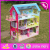 2015 행복한 Play Kids Wooden Toy Doll House, Colorful Pretend Play Doll House, Accessroies Play Set W06A104를 가진 Wooden Doll House