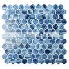do derretimento quente sextavado azul da mistura de 25X28mm telha de vidro do mosaico (BGZ021)