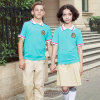 Stile poco costoso della camicia di polo di verde dell'uniforme scolastico di estate