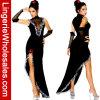 Costume ферзя вампира платья сексуальной высокой шеи женщин Lace-up несимметричный