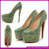 16cm Pointed Toe High Heels! 2014 Fashion novo Women Dress Shoes com Crystals
