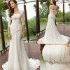 Vestido de casamento Fishtail Chiffon drapejado frisado (RJ0047)