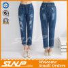 Pantaloni lunghi del Jean delle donne strappati Stratch di Strench di modo della via