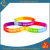 Qualitäts-kundenspezifischer Regenbogen-SilikonWristband mit gedruckten Texten