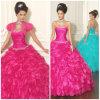 2012 querido sexy bonito a - linha vestidos de Quinceanera do cetim do plissado de Paillette do revestimento da bainha (QD-009)