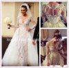 Vestido de casamento nupcial L15342 de Tulle do laço de Illision Vestidos do vestido de esfera das luvas longas