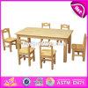 고품질 학교 가구 판매 W08g209를 위한 자연적인 목제 유치원 테이블 그리고 의자